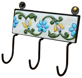 Ceramic & Black Wrought Iron 3 Key Holder Hooks Wall Hanging - Traditional - Wall Hooks - by ...