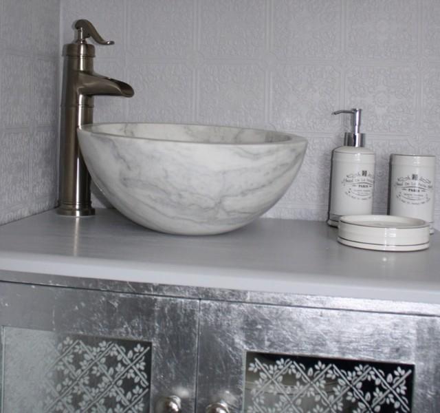 Eden Bath S003GW-H Small Vessel Sink Bowl - Honed White Marble ...