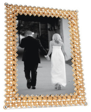 Gold Lattice Frame with Swarovski Crystals traditional-picture-frames