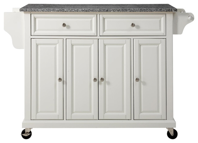 Solid Granite Top Kitchen Cart/Island in White Finish traditional-kitchen-islands-and-kitchen-carts