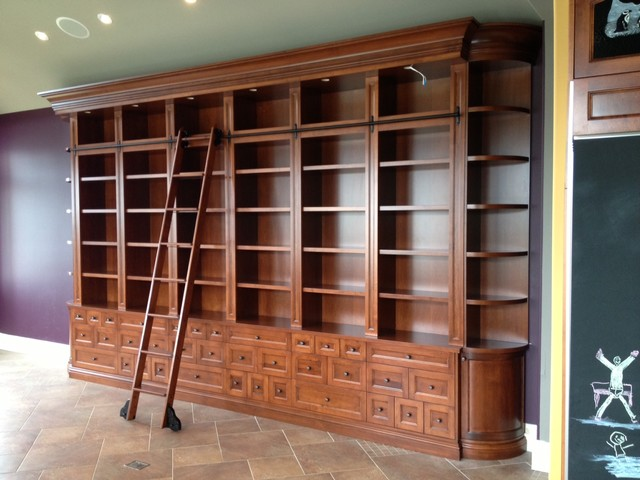 Bookcase With Rolling Ladder Voqalmedia