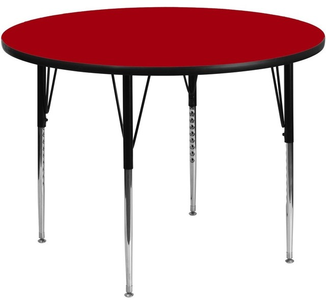 "Red Round Dining Table: 60"" Round Activity Table With Red Top And Adjustable Legs"