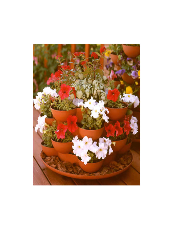 Terracotta Garden Planter - Stackable with Casters - Incredible indoor / outdoor stackable garden planter with a wheeled base. Just stack & grow. Grow herbs, flowers, house plants, cactus garden, more. Made in the USA. Durable, UV resistant material. 5 colors.