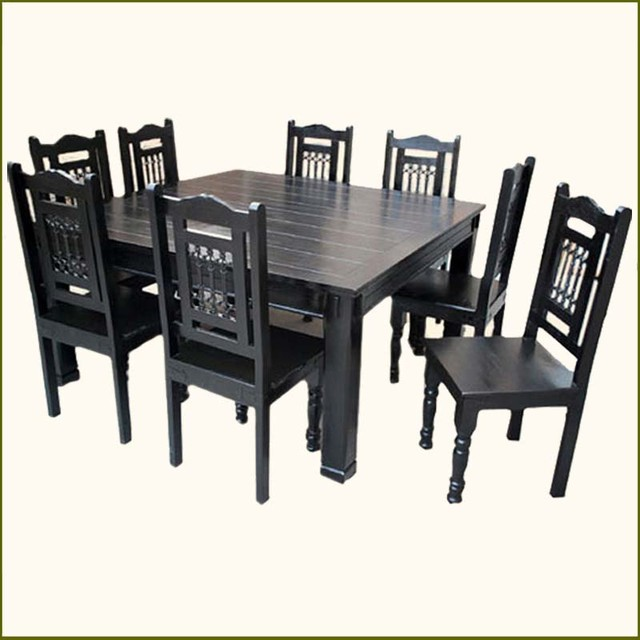 8 Chair Square Dining Table: Solid Wood Rustic Square Dining Table Chairs Set For 8