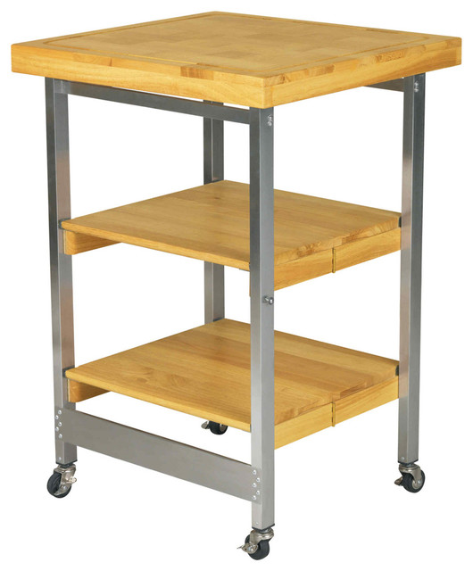 Folding Kitchen Island Stainless Steel And Wood Natural