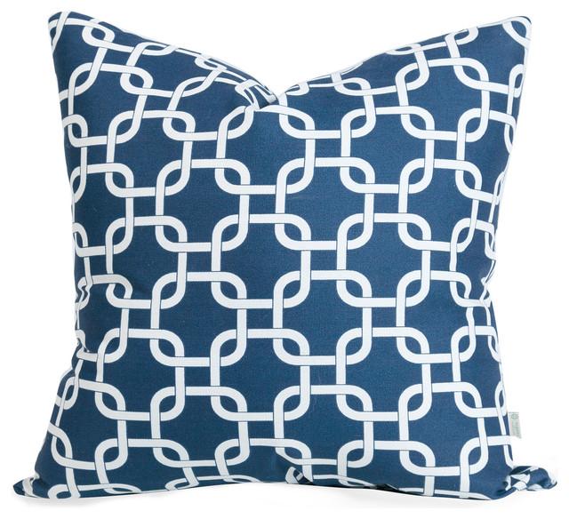 Outdoor Navy Blue Links Pillow Modern Outdoor