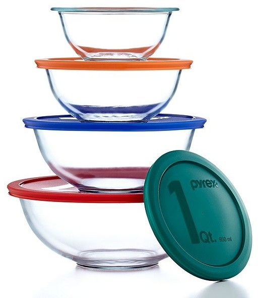 Pyrex 8-Piece Mixing Bowl Set With Colored Lids contemporary-bakeware-sets