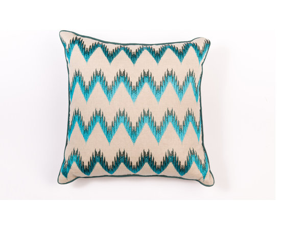 "Pillows - Luxurious colors and chevron infused pattern give this 20""X20"" Linen pillow a touch of decedence."