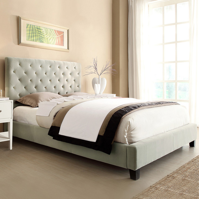 sophie taupe velvet tufted full size bed contemporary beds by. Black Bedroom Furniture Sets. Home Design Ideas