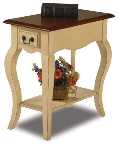 The distressed edges and ivory legs of the Bentwood Chairside End Table in Ivory contemporary-side-tables-and-end-tables