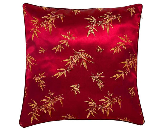 None - Chinese Bamboo Leaves Maroon Cushion Cover - Embellish your home decor with a traditional Far East cushion cover Exotic decorative pillow cover features embroidered Oriental bamboo leaf designThrow pillow cover boasts luxurious and gentle cotton composition