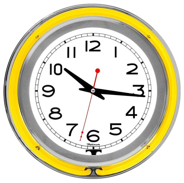 retro neon wall clock yellow eclectic games room
