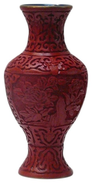 Chinese Red Lacquer Flower Carving Decor Vase asian-vases
