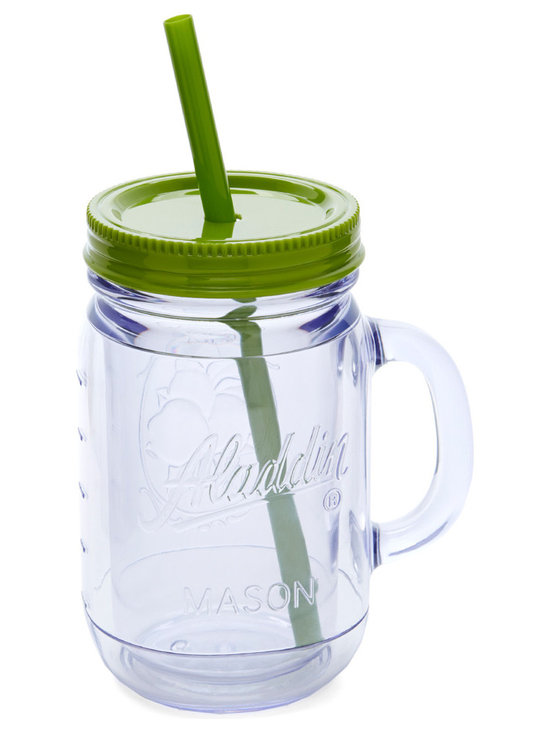 Aladdin - Lime Insulated 20-Oz. Mason Tumbler - This handled mason tumbler was crafted to bring out the best in a vintage-inspired kitchen, making it perfect for taking fresh lemonade on the go.   Includes tumbler, lid and straw 9'' H x 3.5'' diameter Holds 20 oz. BPA-free plastic Dishwasher-safe Imported
