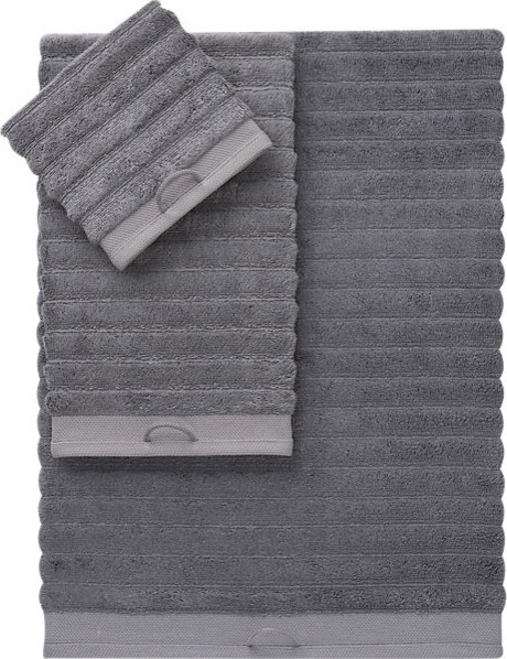 Rayon Bamboo Channel Grey Bath Towels contemporary-bath-towels