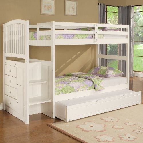 Angelica Twin over Twin Bunk Bed with Storage Stairs traditional kids beds