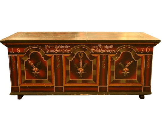 Swiss Wedding Chest - This is a traditional Swiss wedding chest that is hand painted and embellished with the bride and groom's names, family surname, and the location they were married in.