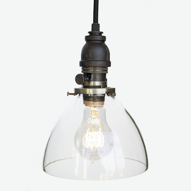 Hand Blown Glass Industrial Rustic Pipe Pendant Light – Oil Rubbed Bronze F