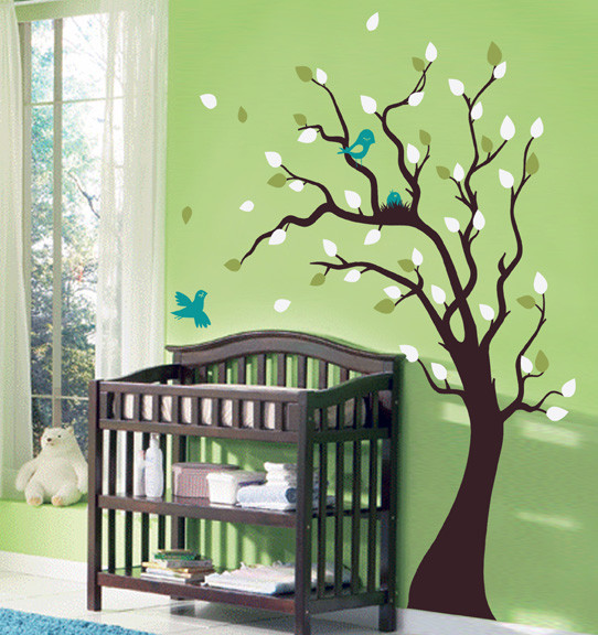 Nesting Tree Decal with Birds and Baby Bird Nest contemporary decals