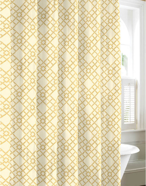 Tommy Bahama Bamboo Trellis Cotton Shower Curtain Contemporary Shower Curtains By
