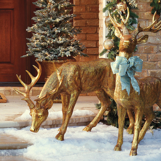 Feeding gold stag frontgate outdoor christmas Traditional outdoor christmas decorations