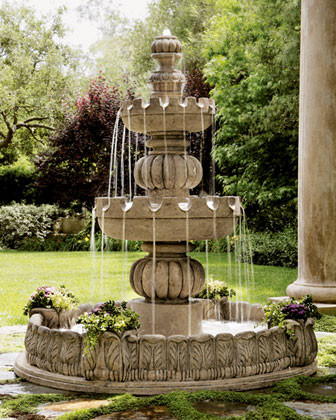 """Three-Tier """"Castle"""" Fountain traditional-outdoor-fountains-and-ponds"""