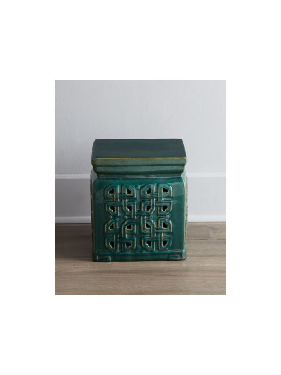 """Horchow - Vintage Ceramic Garden Stool - With its traditional raised, pierced design, this petite garden stool adds a bit of intrigue to the room. Its short stature makes it perfect as low seating or as a place to prop your feet. From Jiangxi, China, c. 1912-1960. Ceramic, with a green glaze. Outdoor safe in a covered area. 13""""Sq. x 13"""