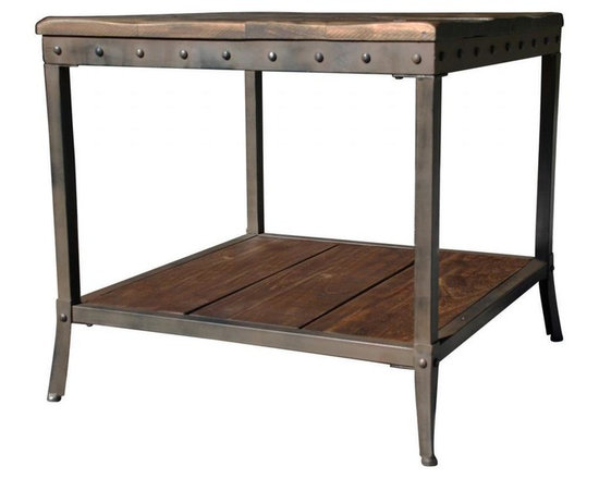 None - Trenton Distressed Pine/ Metal End Table - Rustic modern design enters a whole new realm with this solid pine wood and black iron table. The handcrafted frame has stud details that emphasize its sturdy construction while adding another layer of visual interest.