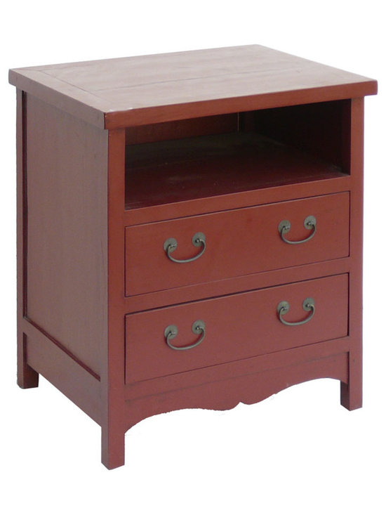 Red Two Drawers TV Entertainment Stand Cabinet - This is a mini entertainment cabinet which is made of Elm wood. It is for median TV. Its shelf can be put DVD/VCR player, and you can put video games, DVD/CD or video tapes in the drawers. It is a very functional entertainment cabinet.
