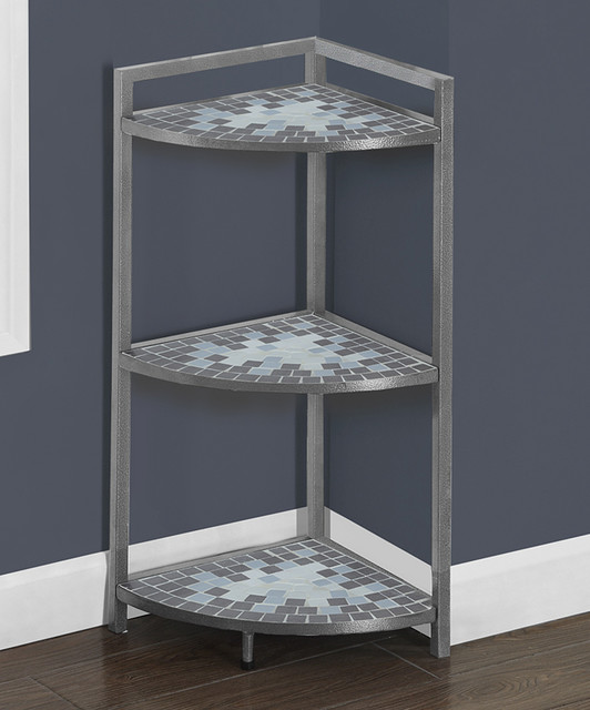 Gray & Blue Tile Corner Etagere contemporary-bathroom-cabinets-and ...