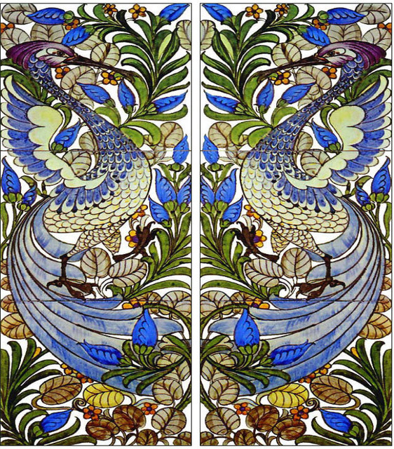 Indoor Fireplaces Fantastic Bird Tile Panels, William Morris Tile
