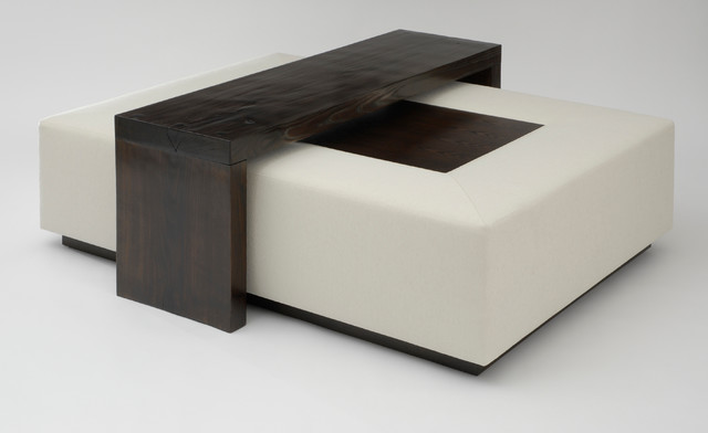 Mark Cocktail Ottoman With Bridge Table Art Harrison Collection Contemporary Footstools