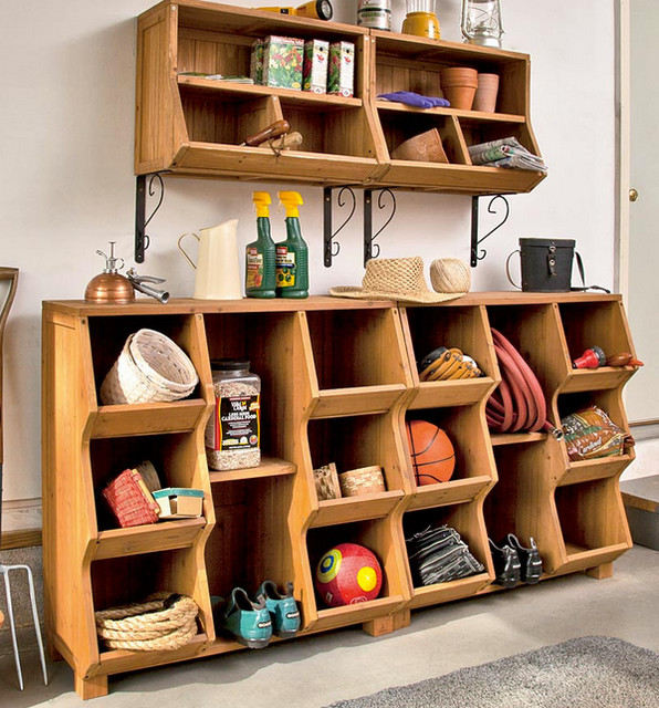 Natural Fir Wood Storage & Wall Cubby Sets With Adjustable Shelving ...