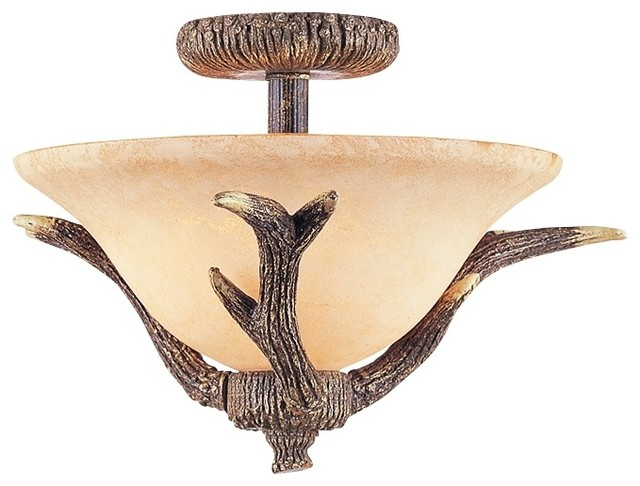 "Country - Cottage Antler Semi-Flushmount 17"" Wide Ceiling Light"