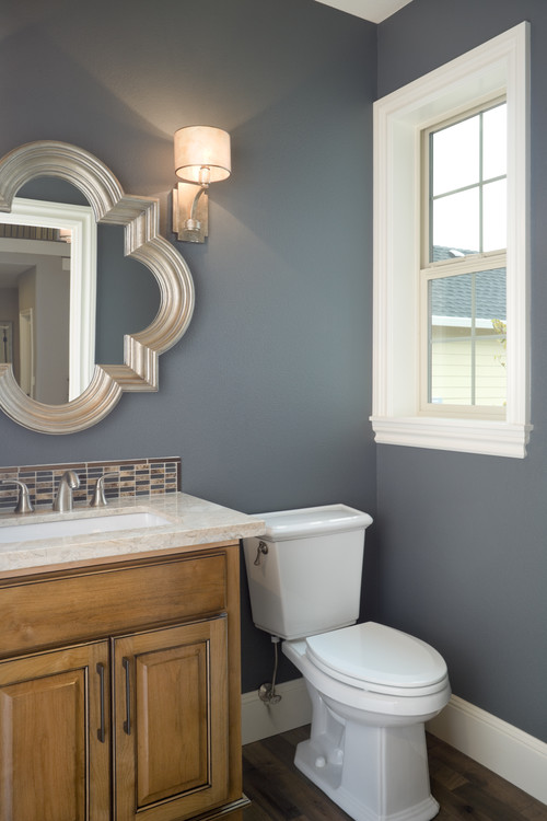 Blue Bathroom with Quatrefoil Mirror