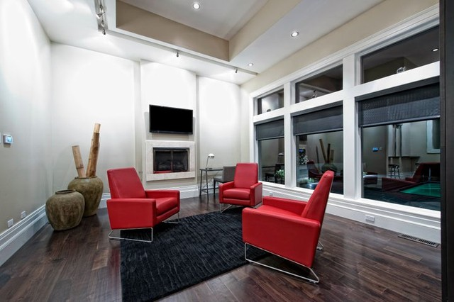 Modern Home with custom audio/video contemporary-basement