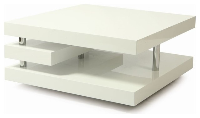 36 Inch Square Coffee Table In White Contemporary Coffee Tables