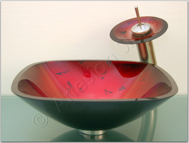 of Red Bathroom Sink Bowl Picture With Fake Drawer Under Bathroom Sink ...