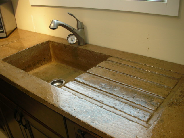 High Gloss Rustic Concrete Countertop with built in Sink ...