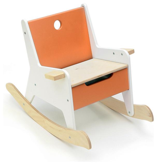 Offi Rockabye Storage Rocker in Orange modern-kids-chairs