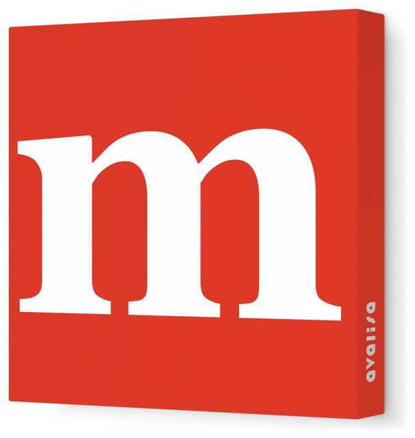 "Letter - Lower Case 'm'  Stretched Wall Art, 28"" x 28"", Red modern-kids-decor"