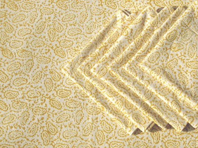 Tilonia Table Linen & Napkin Set for 6 - Paisley in Mustard Yellow ...