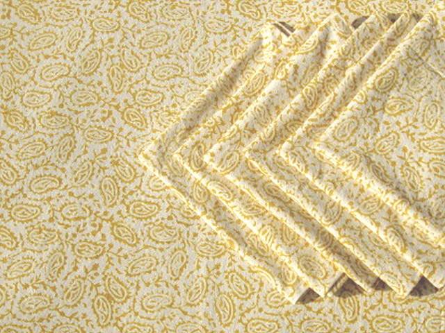 Tilonia Table Linen & Napkin Set for 6 - Paisley in Mustard Yellow ...