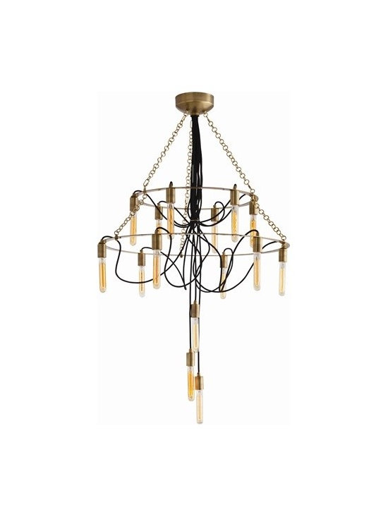 Arteriors Winston 15 Light Vintage Brs/Blk Fabric Cord Chandelier - Winston 15 Light Vintage Brs/Blk Fabric Cord Chandelier