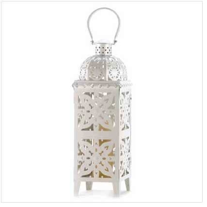 Giant-Size White Medallion Lantern - asian - outdoor lighting