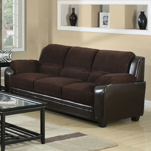 Sofa in chocolate corduroy brown leather look for Brown corduroy couch