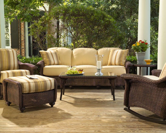 Lloyd Flanders Grand Traverse Seating Collection - Lloyd Flanders Grand Traverse seating collection highlights a classic arrangement of sofa, rocker, lounge chair and ottoman.