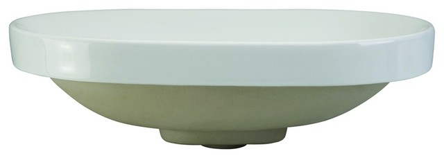 Decolav 1457-CWH Classically Redefined Semi Recessed Oval Bathroom Sink in White traditional-bathroom-sinks