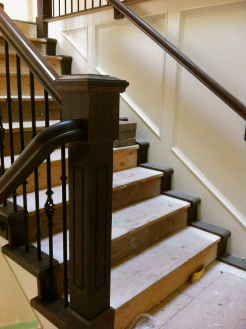 Maple Recessed Panel Post and Wall Ends traditional-staircase