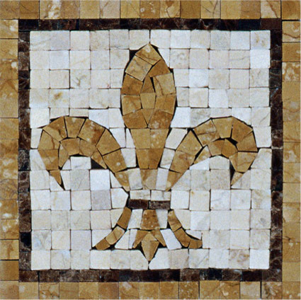 Fleur De Lis Mosaic Insert Traditional Wall And Floor